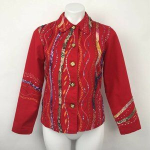 Coldwater Creek Jacket Red Embellished Buttons XSP